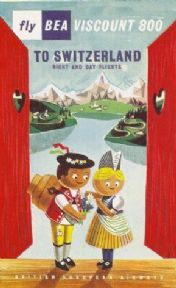 Swiss aviation poster - Fly BEA to Switzerland 1957